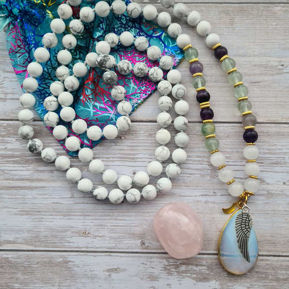 gemstone necklace with wing