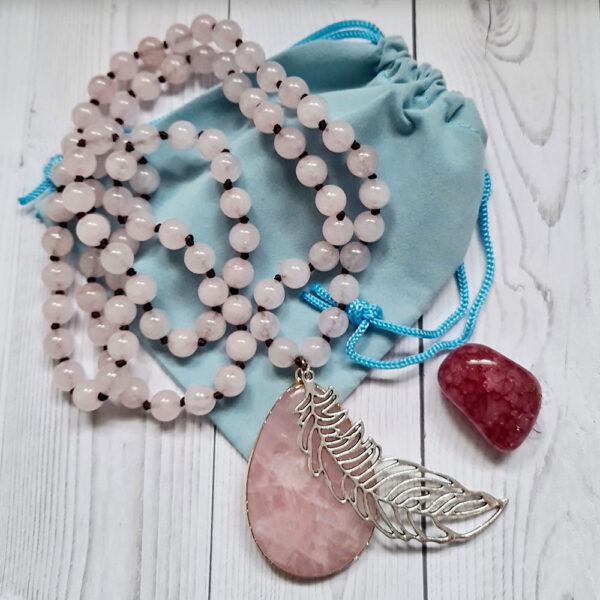 rose quartz necklace with feather