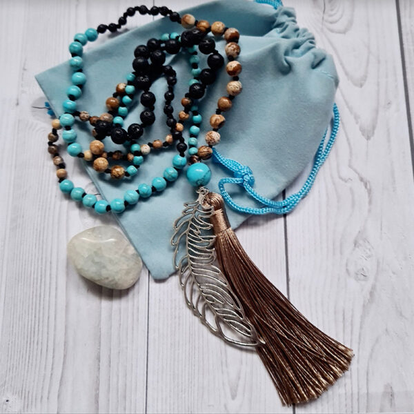 lava wood & turquoise mala beads with feather