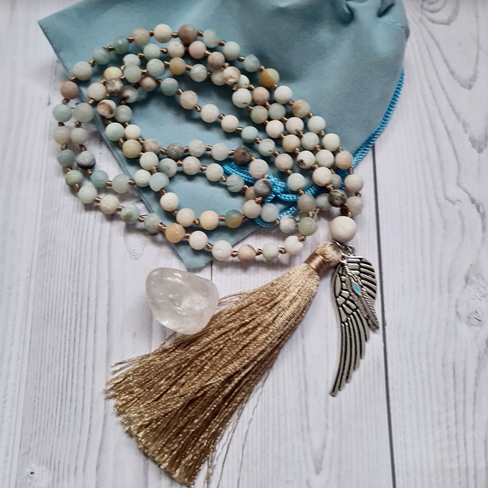 amazonite wing and feather mala beads