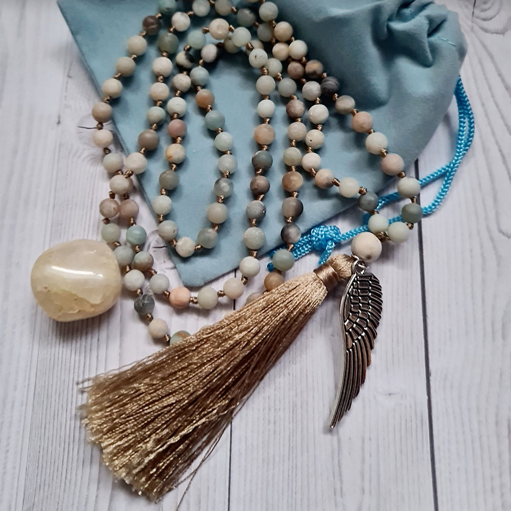 amazonite necklace with wing