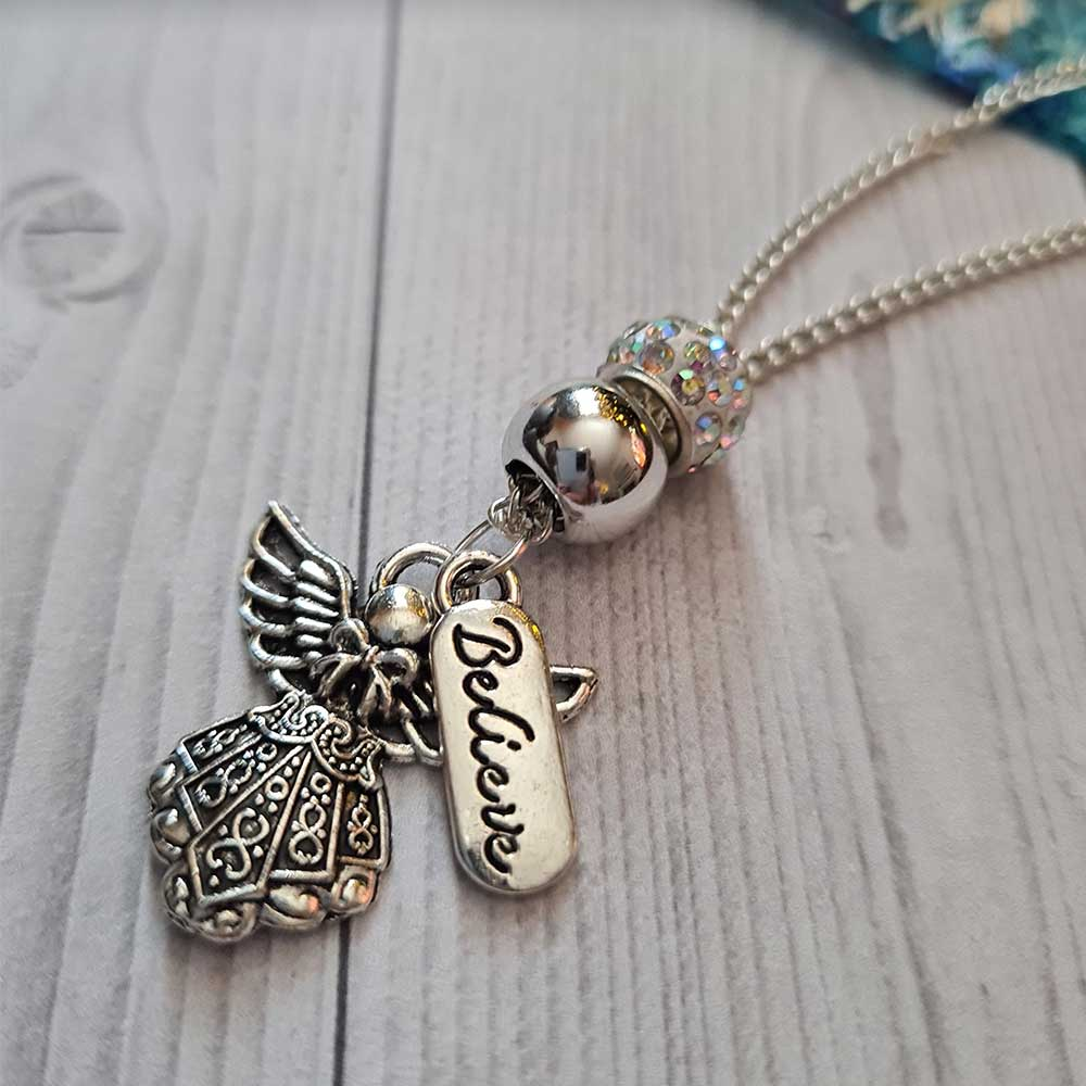 silver plated angel necklace