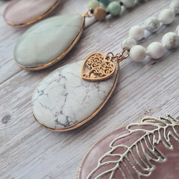 howlite necklace with heart