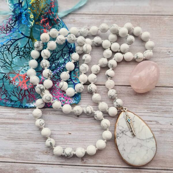 howlite necklace with feather