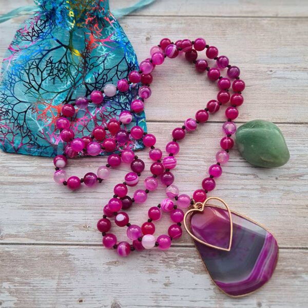 pink agate necklace with heart